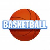 Basketball Ball Logo. Cartoon Of Basketball Ball Logo For Web Design Isolated On White Background poster