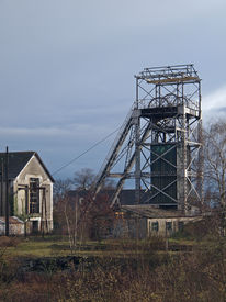 stock photo of cheval  - Trelaze old slate mine chevalement - JPG