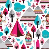 image of teepee  - Seamless kids American indian native teepee retro owl background pattern in vector - JPG