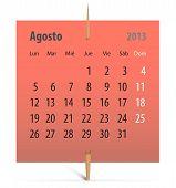 Calendário para agosto de 2013 em espanhol