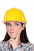 image of pouty lips  - Woman with yellow helmet - JPG