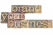 brand your business - marketing concept - isolated text in vintage letterpress wood type printing blocks