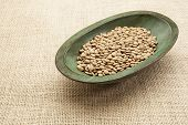 green lentils in a rustic wood bowl against burlap canvas
