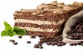 Tiramisu Cake With Bag Of Coffe
