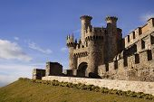 stock photo of templar  - Home or main entrance of Templar castle in Ponferrada the Bierzo Spain - JPG