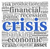pic of collapse  - Crisis concept in word tag cloud on white background - JPG