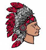 Indianer Mann In Kopfschmuck