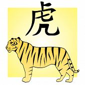 stock photo of tora  - Tiger and japanese hieroglyph  - JPG