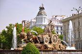 Cibeles Fountain on Plaza de Cibeles in Madrid, Spain
