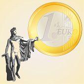Euro Coin And Greek God Apollo.eps