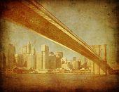 Grunge beeld van de Brooklyn Bridge, New York, Verenigde Staten