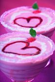 Image of tasty sundae with red romantic heart shape on the top, Valentine day holiday party, strawbe