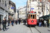Red vintage tram on Istiklal square