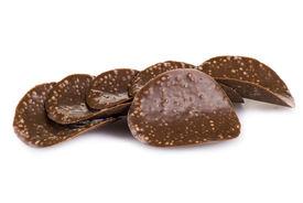 stock photo of crip  - Dark chocolate crips isolated over white background - JPG