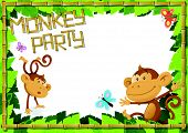 Fun Monkey Party Jungle Border.