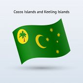Cocos and Keeling Islands flag waving form.