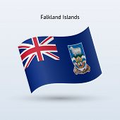 Falkland Islands flag waving form.