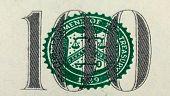 Number 100. Fragment Of  One Hundred Dollar Bill