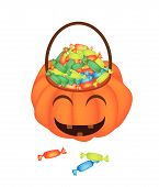 Happy Jack-o-lantern Pumpkin Basket With Candies