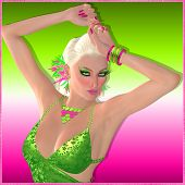 Disco party dance girl on pink and green