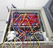 Tangled wires in server room at television station