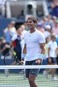 Twelve times Grand Slam champion Rafael Nadal celebrates victory in his third round match at US Open
