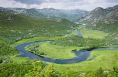 Lake Skadar National Park: high view of a bend Crnojevica River, Montenegro