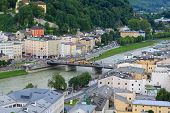 SALZBURG, AUSTRIA - AUGUST, 2012 : Bird view of the Salzburg city and the State Bridge over Salzach