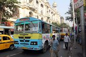 KOLKATA, INDIA - NOVEMBER 24:People on the move come in the colorful bus on November 24, 2012 in Kol