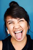 real funny face portrait of woman