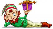 foto of elf  - Illustration of a happy elf holding a gift on a white background - JPG