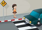 Illustration of a little girl at the pedestrian lane