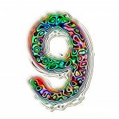 Numeric 9 Colorful Abstract Texture Illustration, Isolated