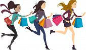 Illustration of Girls Carrying Shopping Bags Running to the Right Side of the Drawing
