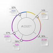 Pie chart infographics template. Vector.