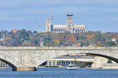picture of washington skyline  - Washington DC skyline over Memorial Bridge in Autumn season - JPG