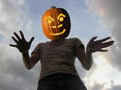 foto of jack-o-laterns-jack-o-latern  - person with pumpkin head - JPG