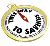 The words This Way to Savings on a golden compass to advertise a special sale or clearance event where a shopper can save big money