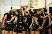 SIOFOK, HUNGARY - SEPTEMBER 14: Siofok players at a Hungarian National Championship handball match S
