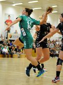 SIOFOK, HUNGARY - SEPTEMBER 14: Aniko Kovacsics (in green) in action at a Hungarian National Champio