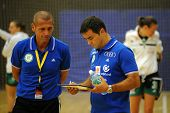 SIOFOK, HUNGARY - SEPTEMBER 14: Martin Ambros (Gyor trainer) (R) in action at a Hungarian National C