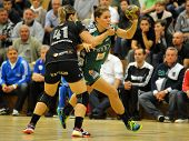 SIOFOK, HUNGARY - SEPTEMBER 14: Aniko Kovacsics (in green) in action at a Hungarian Championship han