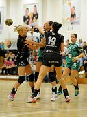 SIOFOK, HUNGARY - SEPTEMBER 14: Unidentified players in action at a Hungarian Championship handball