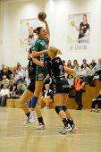 SIOFOK, HUNGARY - SEPTEMBER 14: Katarina Bulatovic (with ball) in action at a Hungarian Championship