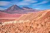 view from Valle de la Muerte (Death Valley) on the volcanoes Licancabur and Juriques, desert Atacama
