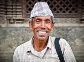 KATHMANDU, NEPAL - MAY 20 - Portrait of  an unidentified man living in Bhaktapur, the most beautiful