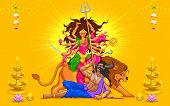 stock photo of dussehra  - illustration of goddess Durga in Subho Bijoya  - JPG