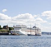 OSLO, NORWAY - JULY 09. MSC Orchestra moored in Oslo harbor on July 09, 2010 in Oslo, Norway.