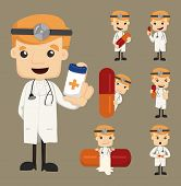 Set Of Doctor Characters Poses With The Pill