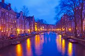 Cityscenic from Amsterdam in the Netherlands by night